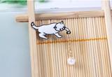 ?2017春新作☆ミ白い 猫 ブローチ バッジ 徽章
