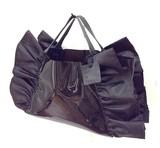 【予約販売】(4月納品)<本革使用>ビニールトートバッグ(ブラック)巾着付き