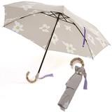 晴雨兼用(折傘)バンブー手元(フラワー)