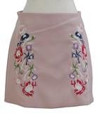 春色花刺繍 Aラインミニスカート