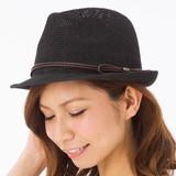 帽子 約59cm 春夏 中折れハット ペーパー 細ベルト付き サイズフリー レディース