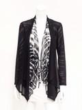 ゼブラチュール&ブラックソフトパワーネット  4WAY ドレープ衿ジャケット(柄×黒配色セット )