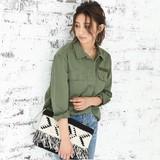 ◆[綿100%]USED風ミリタリーシャツ/ブラウス/アウター/シャツジャケット/アーミーシャツ◆424794