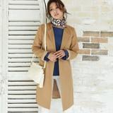 ◆ノーカラー・ツイルトレンチコート/ロング/ベルト/ツイル/羽織り/ライト/アウター◆425475