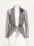 Houndstooth Pattern Power Net Jacket Corsage Attached