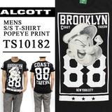 ◆お買い得春夏商材◆★大特価★ALCOTT アルコット メンズ ポパイ 両面プリント Tシャツ<88><BLK>