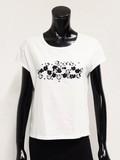 Flower Bijou Embroidery Cotton T-shirt