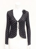 Crystal Pleats Dot Print Chiffon Jacket