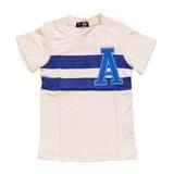 【BE-ZIGY】天竺 シャドーボーダー 胸アップリケ半袖Tシャツ<即納>