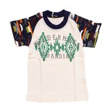【BE-ZIGY】天竺 シャドーボーダー チマヨ柄半袖Tシャツ<即納>