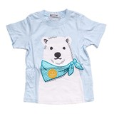 【BAB CHIP】天竺 クマ柄 アップリケ半袖Tシャツ<即納>