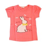 【PAL HOUSE】ジャカード 綿100% ウサギレースアップリケ半袖Tシャツ(80cm〜130cm)<即納>