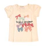 【PAL HOUSE】天竺 綿100%パフスリーブリボン柄Tシャツ(80cm〜140cm)<即納>