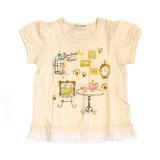 【PAL HOUSE】天竺 綿100%パフスリーブ裾フリルTシャツ(80cm〜130cm)<即納>