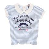 【CHEER GIRL】ボーダー 裾シャーリング襟付き半袖Tシャツ(110cm〜160cm)<即納>
