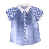 Gingham Check Hair Band Attached Blouse