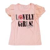 【CHEER GIRL】天竺 シュークリーム袖パール半袖Tシャツ(110cm〜160cm)<即納>