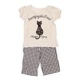 【PAL HOUSE】天竺 ネコ柄 半袖 綿100%パジャマ(80cm〜130cm)<即納>