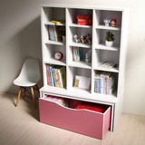 大型本棚と収納ボックス付き ロータイプデスク 学習机 ピンク&ホワイト