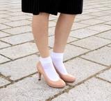 【カラバリ豊富】日本製・ナイロン無地口ゴム幅広クルーソックス