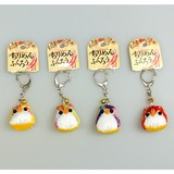 Japanese Style Crape Owl Key Ring Attached 5 Colors Assort