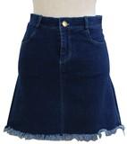 【M,L 2サイズ】裾カット デニムAラインミニスカート