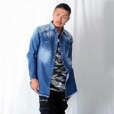 <春物新作>デニム フリンジ ロング丈 シャツ / メンズ 加工 サイドスリットファスナー
