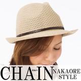 帽子 約59.5cm【F】 春夏 中折れハット サーモ編み 合皮ベルト サイズフリー レディース