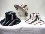 【春新作】綿麻 ストライプ柄 キャペリン ハット 帽子
