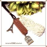 ●レザーメッセージプレート&エッフェル塔・鳥かご ネックレス オリジナル●
