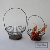 S/S Iron Bottom Arch Handle Basket