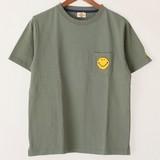 【2017年SS新作】スマイル サガラ刺繍ポケット半袖Tシャツ