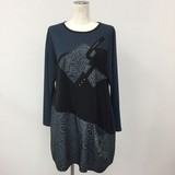 Material Switching Studs Long Sleeve Tunic