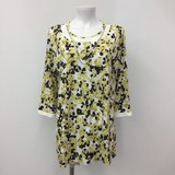 Spring Pearl Necklace Floral Pattern Tunic