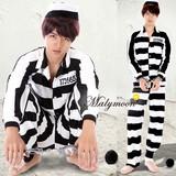 メンズ コスプレ衣装 囚人服 10枚セット