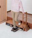【直送可】【送料無料】天然木手すり付き玄関踏み台