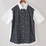 【2017年春夏新作】メンズ ブロード×ジャカード切替え半袖シャツ<日本製>