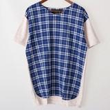 【2017年春夏新作】メンズ ゆるVネックパネル切替え半袖Tシャツ<日本製>