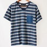 【2017年春夏新作】メンズ ポケット使いボーダー半袖Tシャツ<日本製>