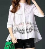 2017 S/S Ladies China Color Punching Lace Blouse