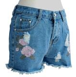 フラワー刺繍 裾カットデニムショートパンツ