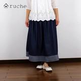 【新型】《大人・甘い》デニム・フレアー スカート《2017春夏》<ナチュラル服>