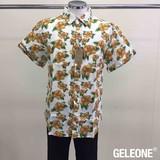 【メンズ】綿麻プリント半袖シャツ