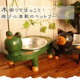 【木彫りアニマルペットフードトレイ(シングル)】アジアン雑貨