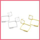 Metal Beads Square Resin Clip Earring