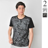 S/S Mesh Layer Paisley Print T-shirt Men's Short Sleeve Crew Neck