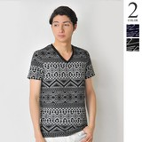 S/S Jacquard Native Border V-neck T-shirt Men's Short Sleeve