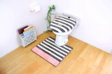 MOCOMOCO トイレ2点セット 洗浄暖房用 グレーボーダー