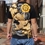 Japanese Pattern Embroidery Short Sleeve T-shirt