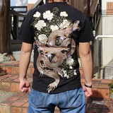 All Embroidery Japanese Pattern Embroidery Short Sleeve T-shirt